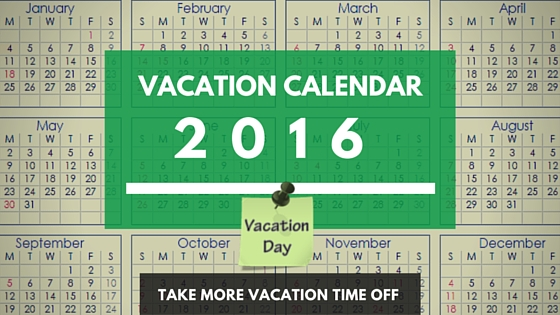 2016 Holiday Vacation Calendar USA Planner