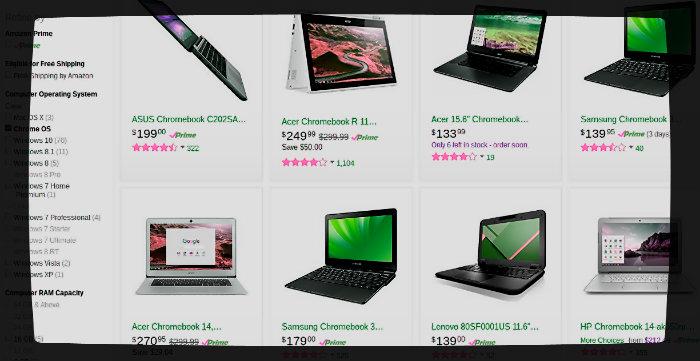 Buy Chromebooks on Amazon