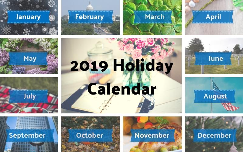 2019 Holiday Calendar Months Poster