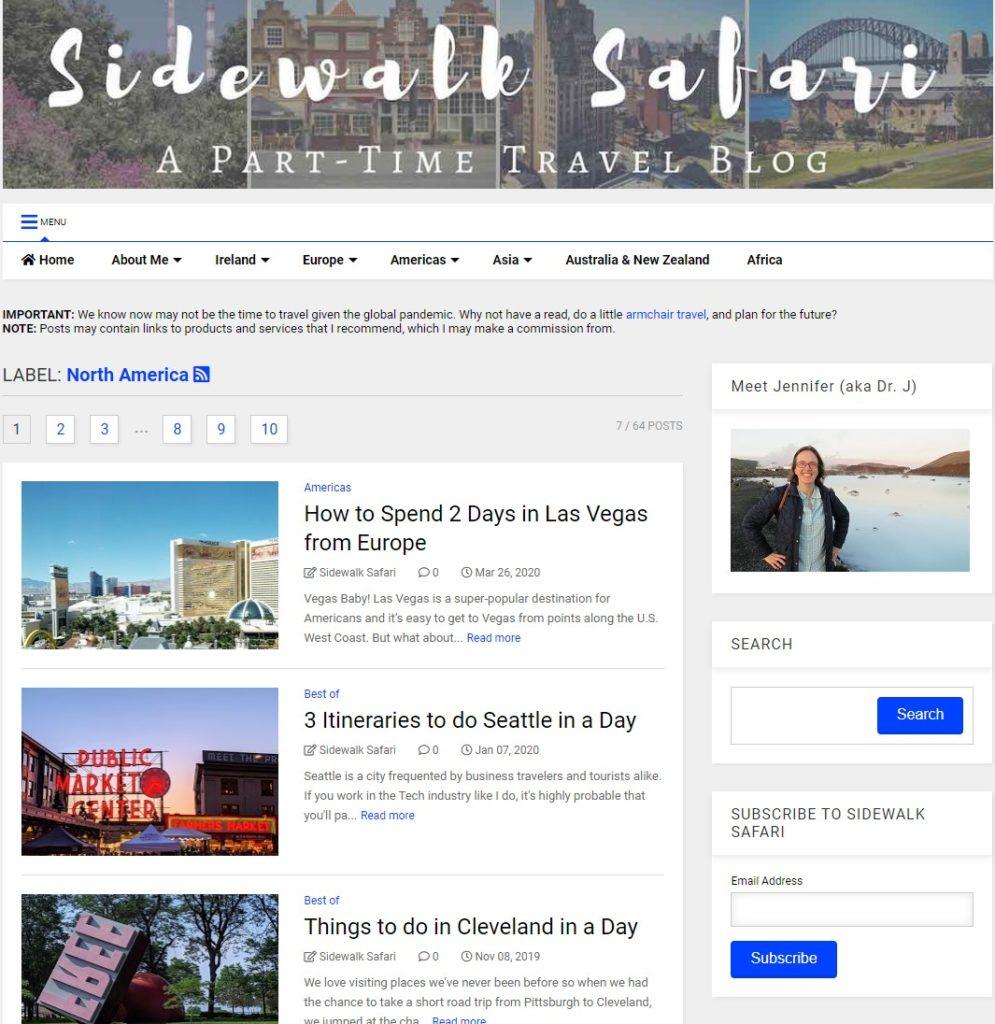 Sidewalk Safari - A Part-Time Travel Blog (Jennifer aka Dr. J)